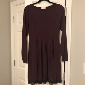 Long Sleeve Jersey and Lace Dress